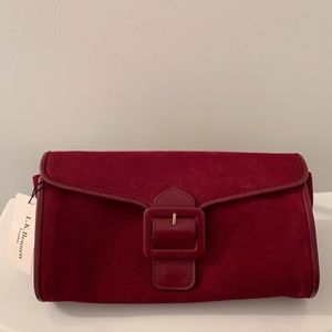 NWT Red Suede Buckle Clutch